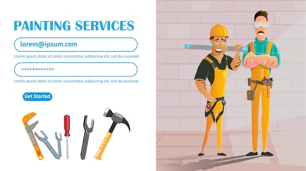 Wall painting service, handymen with equipment.