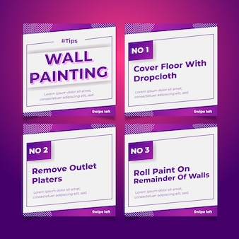 Wall painting tips on instagram posts set