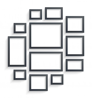 Wall picture frames templates isolated on white background