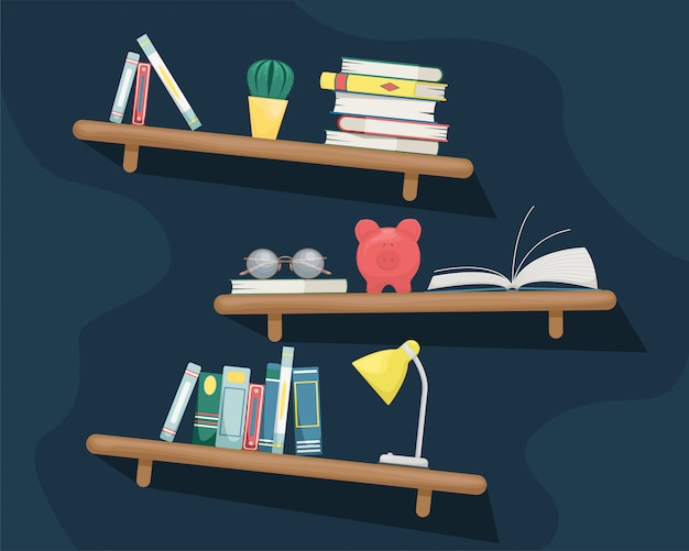 Wall shelves with books, cactus, piggy bank, table lamp and glasses.