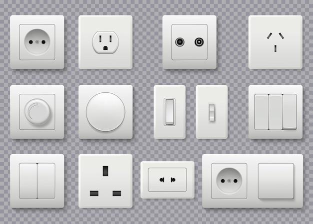 壁のスイッチ。電源電気ソケットの異なる現代の丸いスイッチの現実的なコレクション。