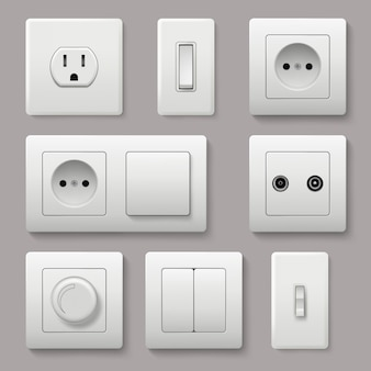 Wall switch. power electrical socket electricity turn of and on plug realistic pictures