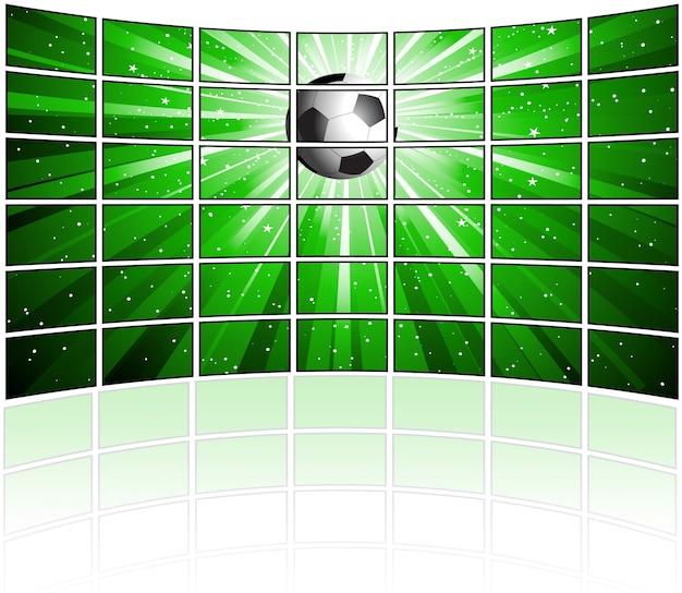 Muro di tv schermi un'immagine di calcio con