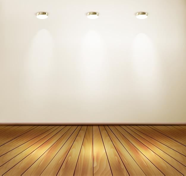 스포트 라이트와 나무 바닥이있는 벽. 쇼룸 개념.