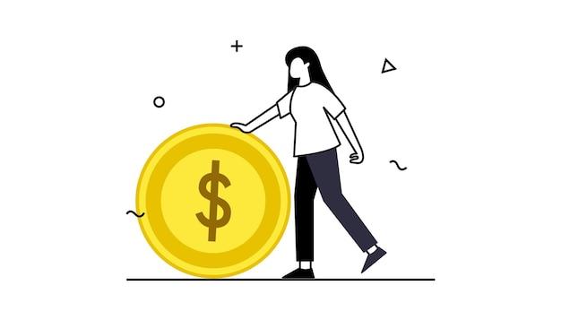 지갑 및 지폐 또는 동전 시간 돈 개념 벡터 시계 및 모래 시계 노트북 및 컴퓨터