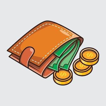 財布とお金の漫画イラストアイコンコンセプトデザイン。無料のベクター