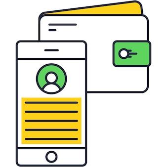 지갑 잔액 아이콘 벡터 스마트폰 은행 앱