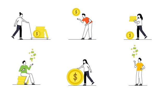 Wallet and banknotes or coins time money concept vector clock and hourglass laptop and computer
