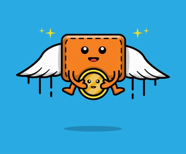 Wallet and coin flying cartoon illustration