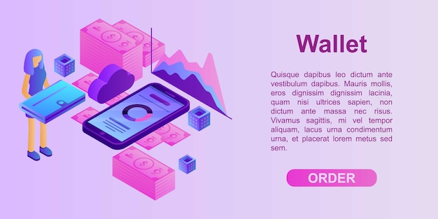 Wallet concept banner, isometric style