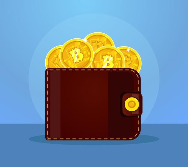 Bitcoins 아이콘으로 가득 찬 지갑. 플랫 만화 일러스트 레이션