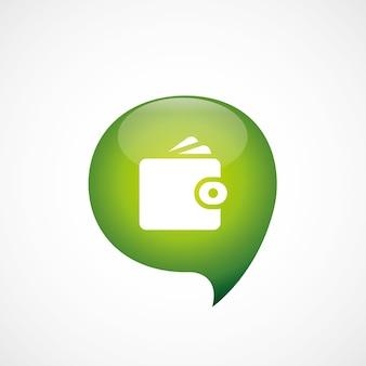지갑 아이콘 녹색 생각 거품 기호 로고, 흰색 배경에 고립