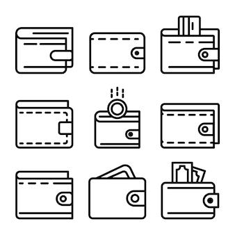 Wallet icons set, outline style