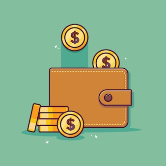 Wallet and money cartoon icon with saving money concept