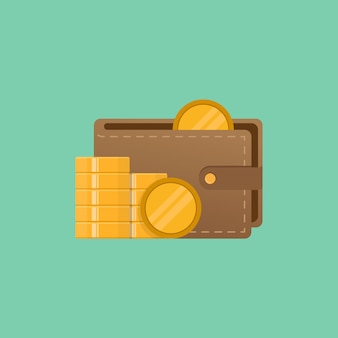 Wallet and money vector illustration