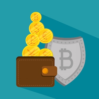 Wallet with bitcoin currency and economy shield