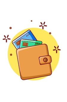 Кошелек с кредитной картой значок иллюстрации шаржа