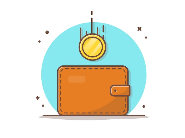 Wallet with flying gold coins vector icon illustration