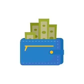 お金がいっぱい入った財布。ベクトルフラット漫画イラスト。キャッシュバックの概念。