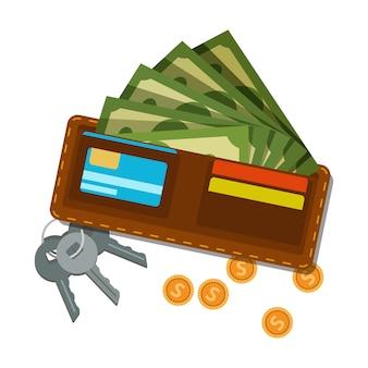緑色のドルとプラスチックカード、黄金のコイン、ドアまたは金庫からの鍵の束が入った財布。お金のアイコン。アメリカの通貨。収益または給与。金融資産。平らな
