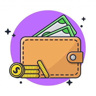 Wallet with money and coin illustration