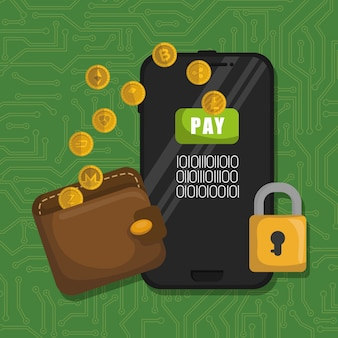 Wallet with virtual coins and smartphone
