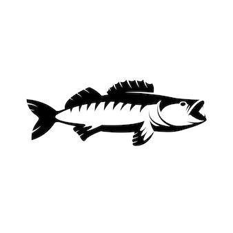 スケトウダラザンダー魚のロゴスポーツクラブのスケトウダラ釣りのエンブレムスケトウダラ釣り