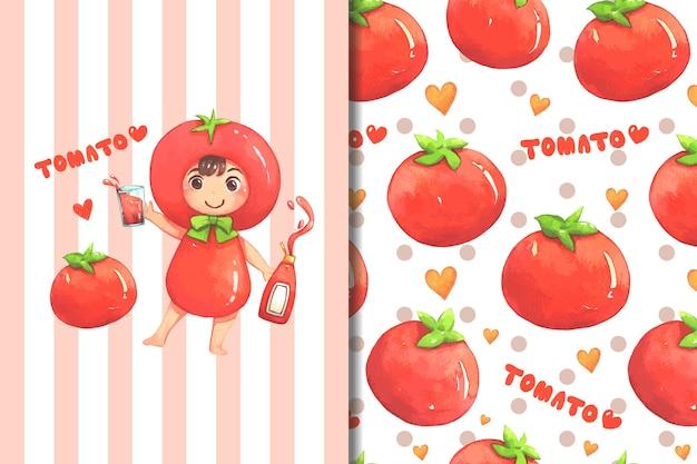 벽지 및 패턴 어린 소녀 토마토 의상 만화
