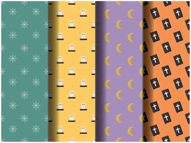 Wallpaper background pattern template icon party cartoon poster flyer vector happy halloween palette