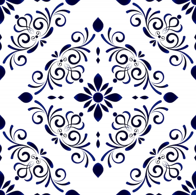 Wallpaper in baroque style damask floral seamless pattern, flower ornament, blue and white vases, simple decoration art, ceramic tile Premium Vector
