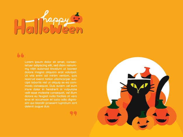 Wallpaper of black cat surrounded with jack-o-lantern pumpkins