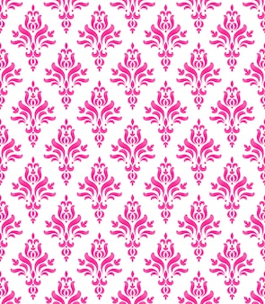 Wallpaper classic style of baroque, seamless pink and white damask pattern