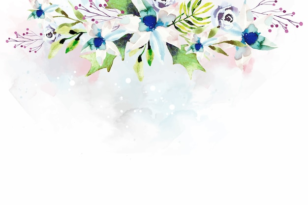 Wallpaper design with watercolor flowers