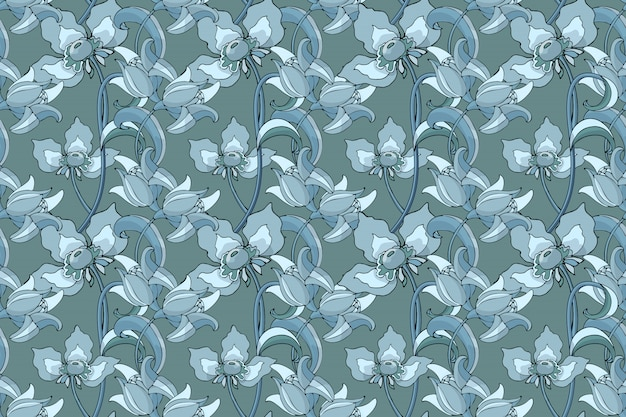 Wallpaper or fabric floral seamless pattern design.