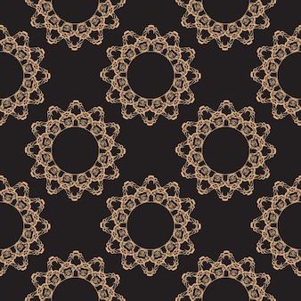 Обои в стиле барокко. бесшовные векторные фон. золотой и черный цветочный орнамент. графический узор для ткани, обоев, упаковки. изысканный цветочный орнамент дамасской