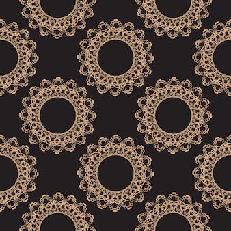 Обои в стиле барокко. бесшовные векторные фон. золотой и черный цветочный орнамент. графический узор для ткани, обоев, упаковки.