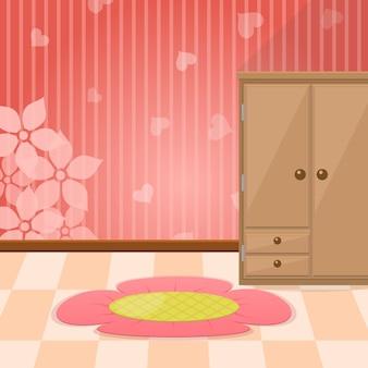 床の上の壁紙ラインの花とカーペットとキャビネット。