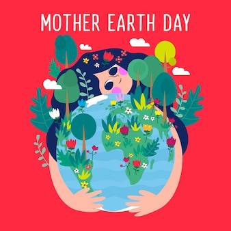 Wallpaper of mother earth day in flat design