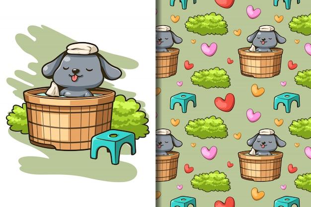 Wallpaper and pattern cute dog soaking hot water