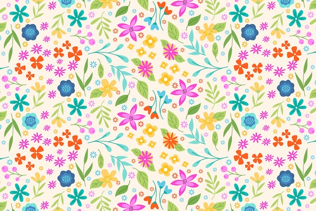 Wallpaper with colorful ditsy floral print