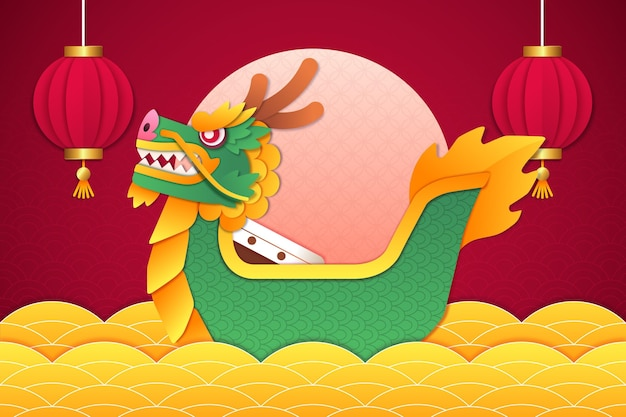 Wallpaper with dragon boat in paper style