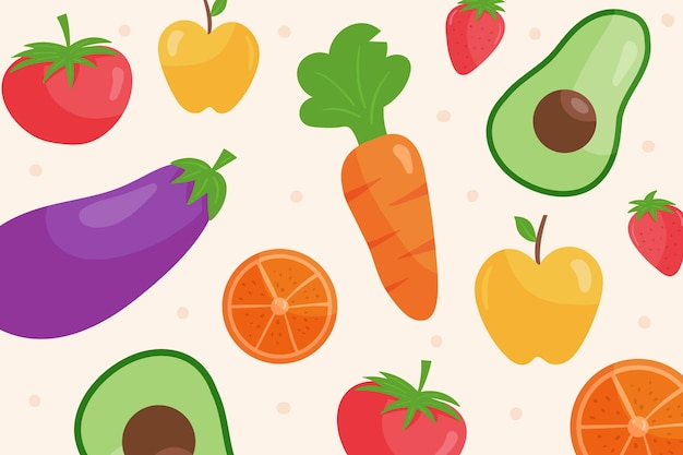 Wallpaper with fruits and vegetables concept
