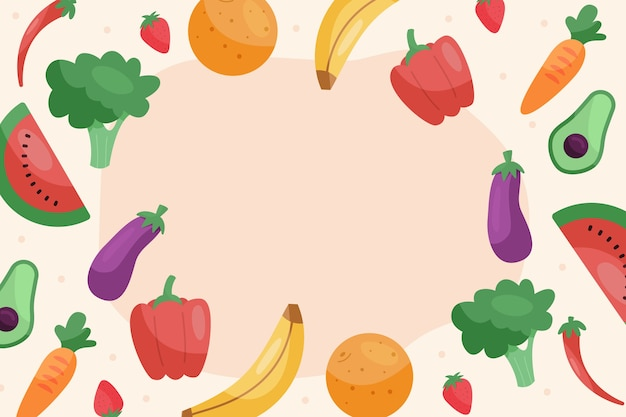 Wallpaper with fruits and vegetables design