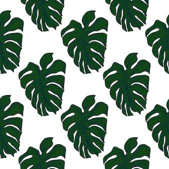 白い背景で隔離の緑の怪物の葉の壁紙。幾何学的な熱帯の葉のシルエットのシームレスなパターン。エキゾチックな背景。ファブリック、テキスタイルプリント、包装紙のベクトルデザイン