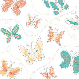 Wallpaper with hand drawn butterfly outline