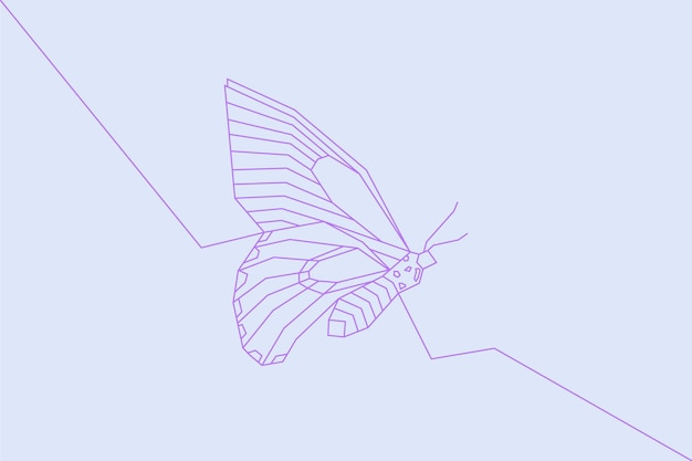 Wallpaper with linear flat butterfly outline