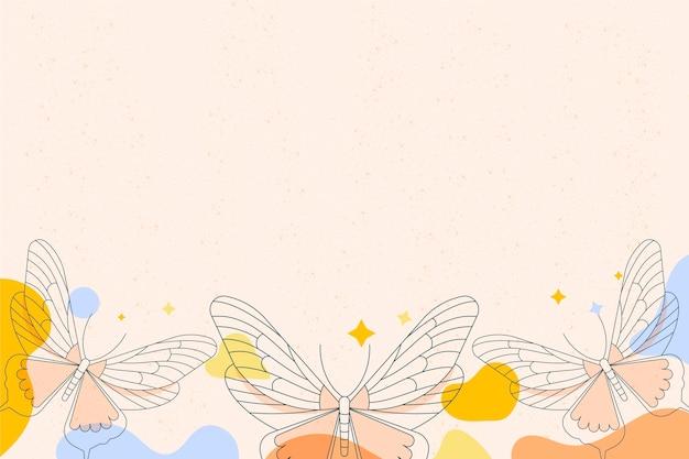 Обои с линейным плоским контуром бабочки