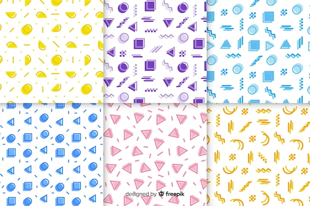 Wallpaper with memphis pattern collection