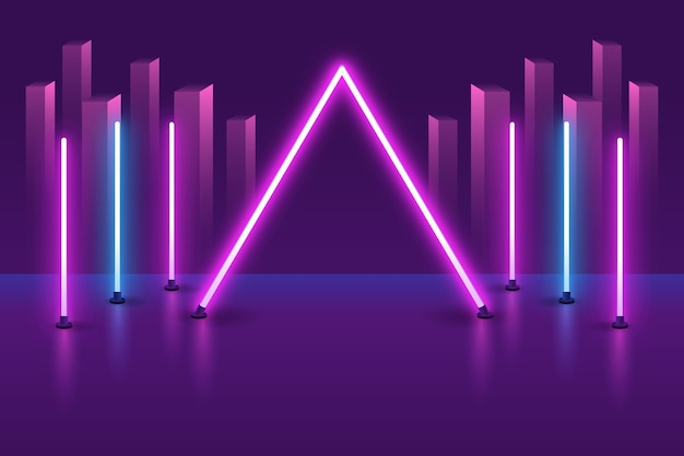 Wallpaper with neon lights concept