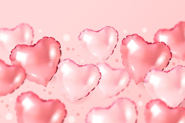 Wallpaper with pink heart shaped balloons for valentine's day